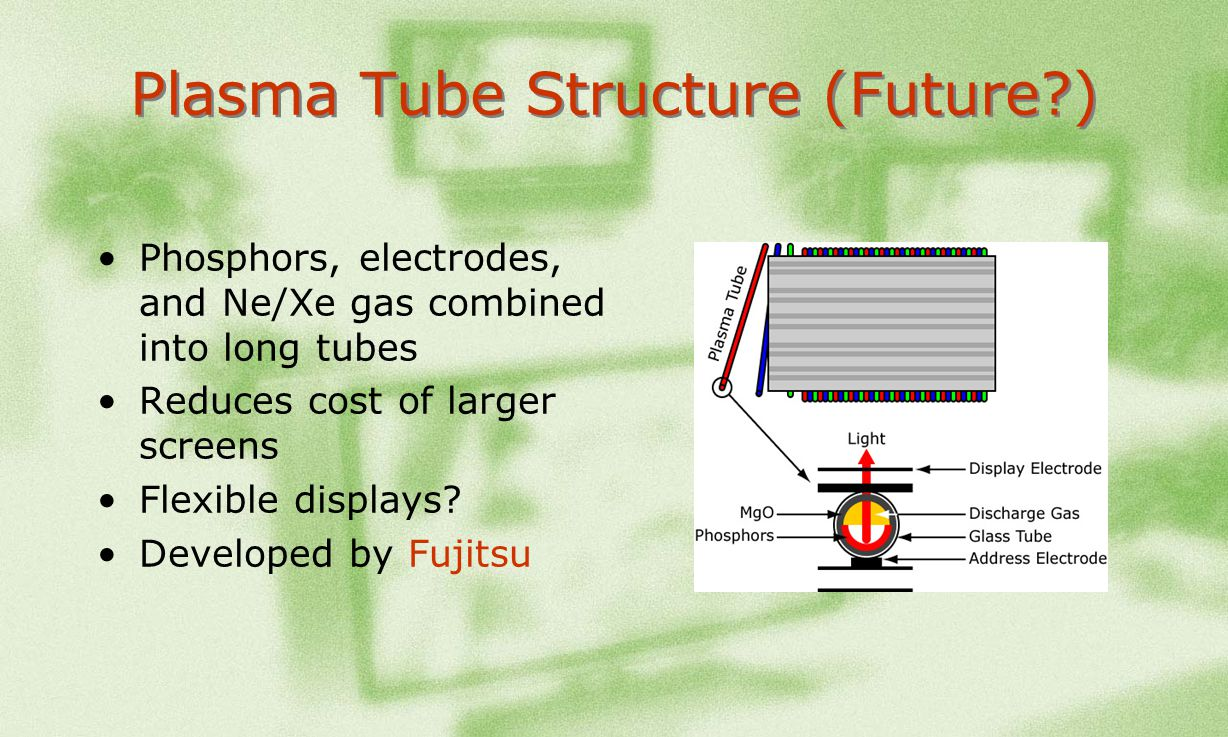 Plasma Tube Structure (Future?) Phosphors, electrodes, and Ne/Xe gas combined into long tubes Reduces cost of larger screens Flexible displays? Develo