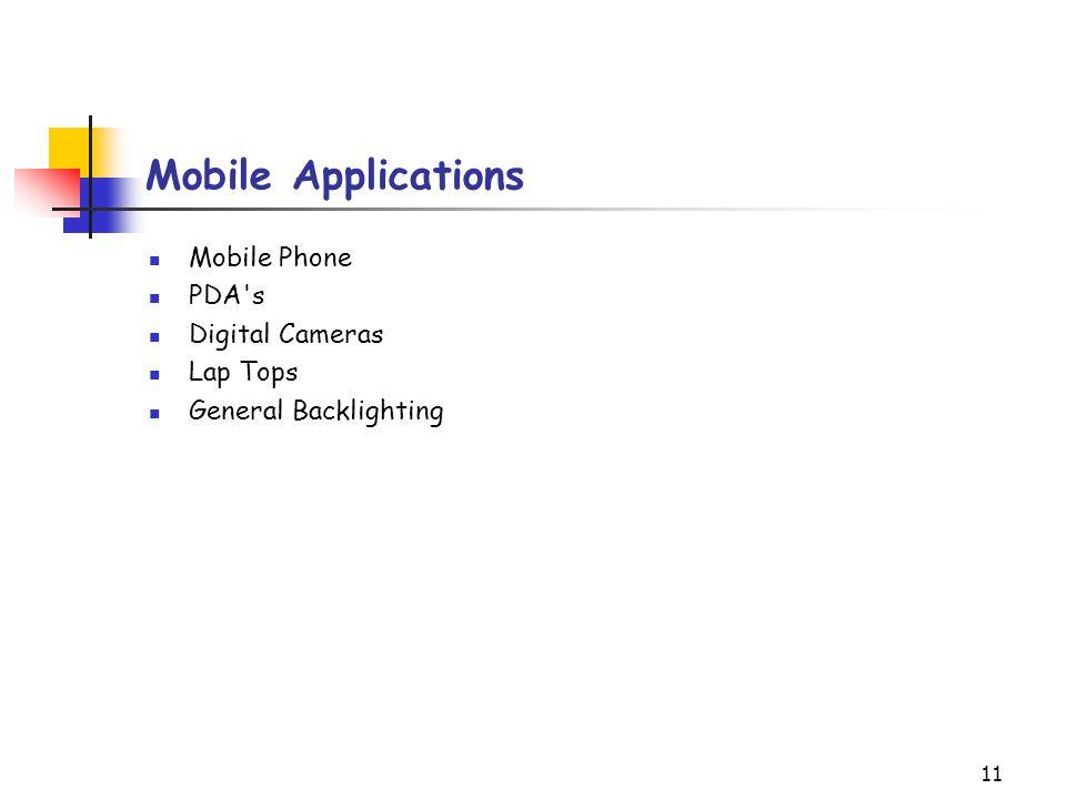 11 Mobile Applications Mobile Phone PDA's Digital Cameras Lap Tops General Backlighting