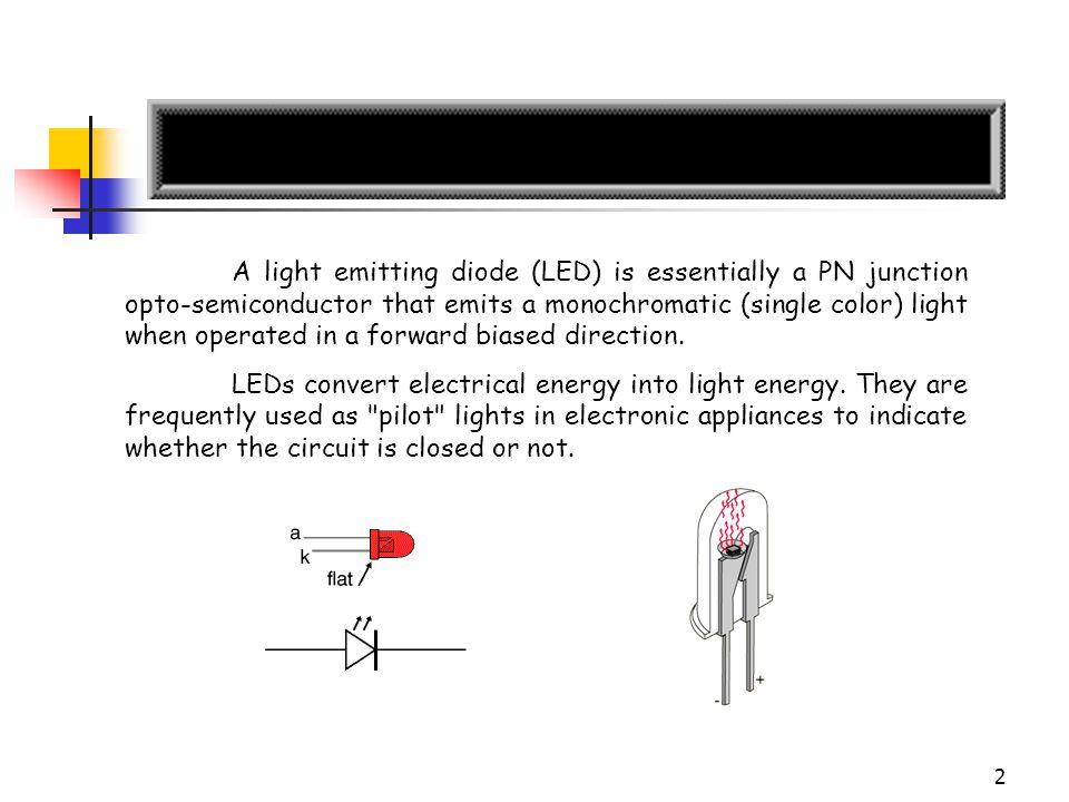 3 About LEDs (1/2) The most important part of a light emitting diode (LED) is the semi-conductor chip located in the center of the bulb as shown at the right.