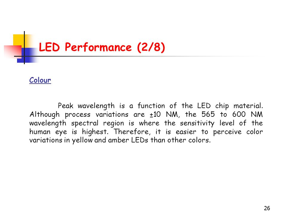 26 LED Performance (2/8) Colour Peak wavelength is a function of the LED chip material. Although process variations are ±10 NM, the 565 to 600 NM wave