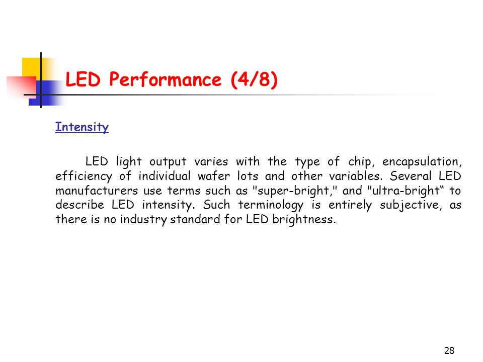 28 LED Performance (4/8) Intensity LED light output varies with the type of chip, encapsulation, efficiency of individual wafer lots and other variabl