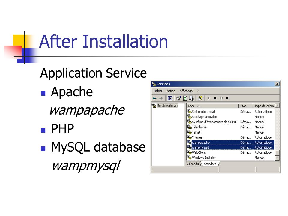 After Installation Application Service Apache wampapache PHP MySQL database wampmysql