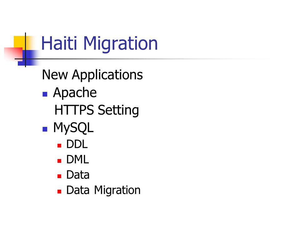 Haiti Migration New Applications Apache HTTPS Setting MySQL DDL DML Data Data Migration