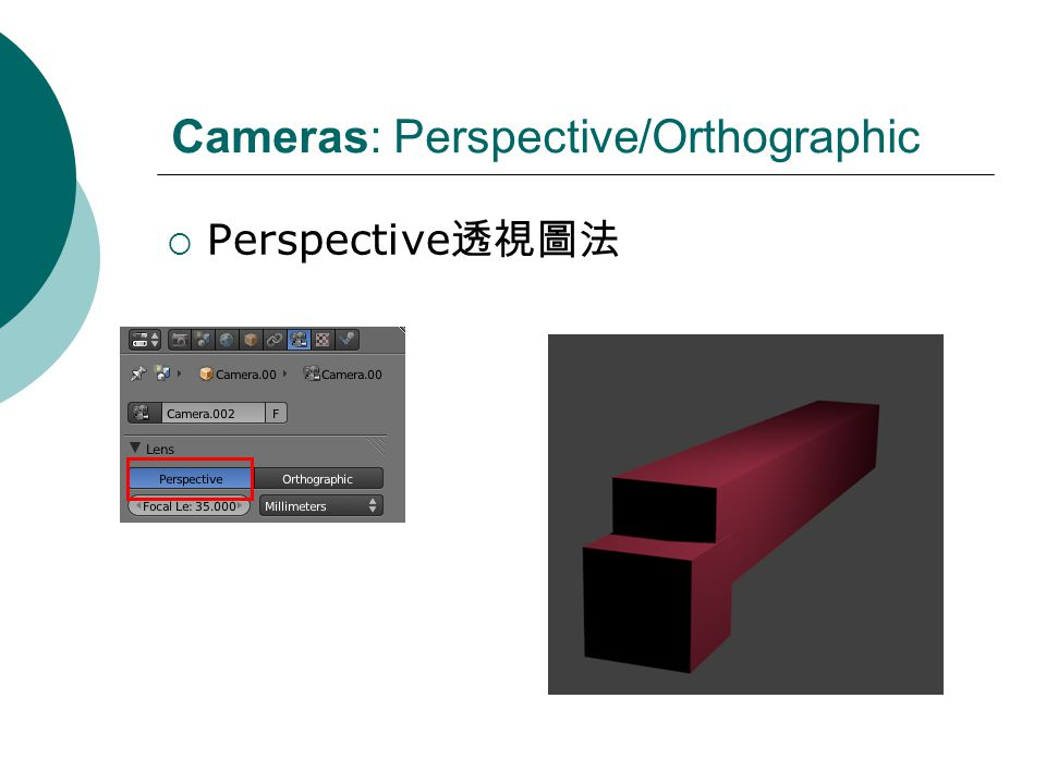 Cameras: Perspective/Orthographic Perspective
