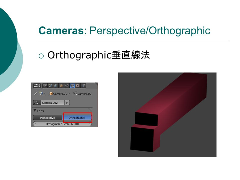 Cameras: Perspective/Orthographic Orthographic