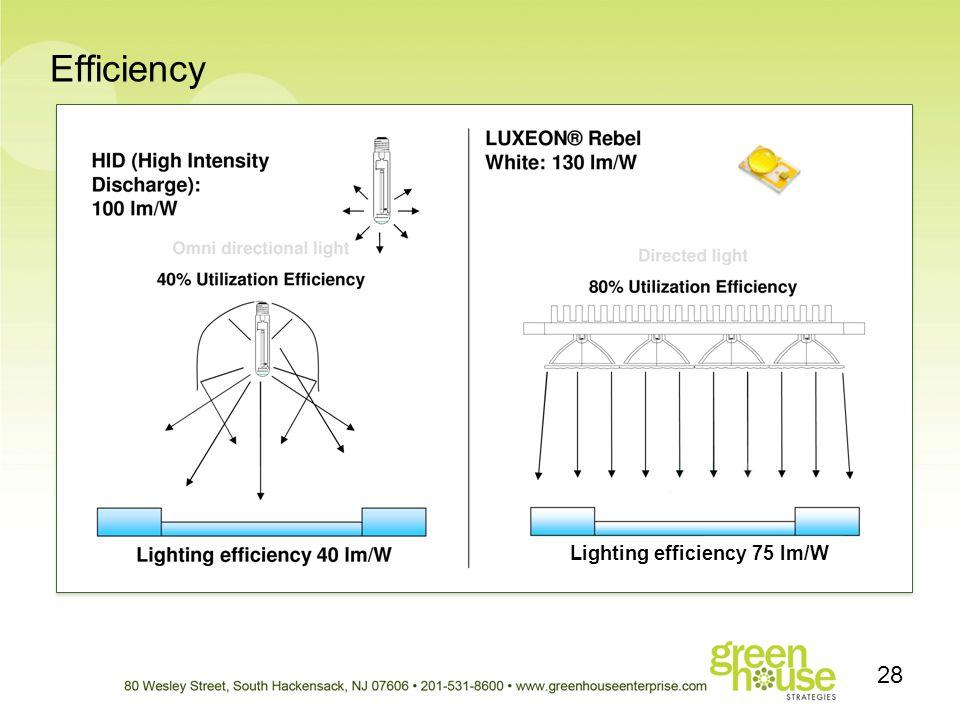 Efficiency 28 Lighting efficiency 75 lm/W