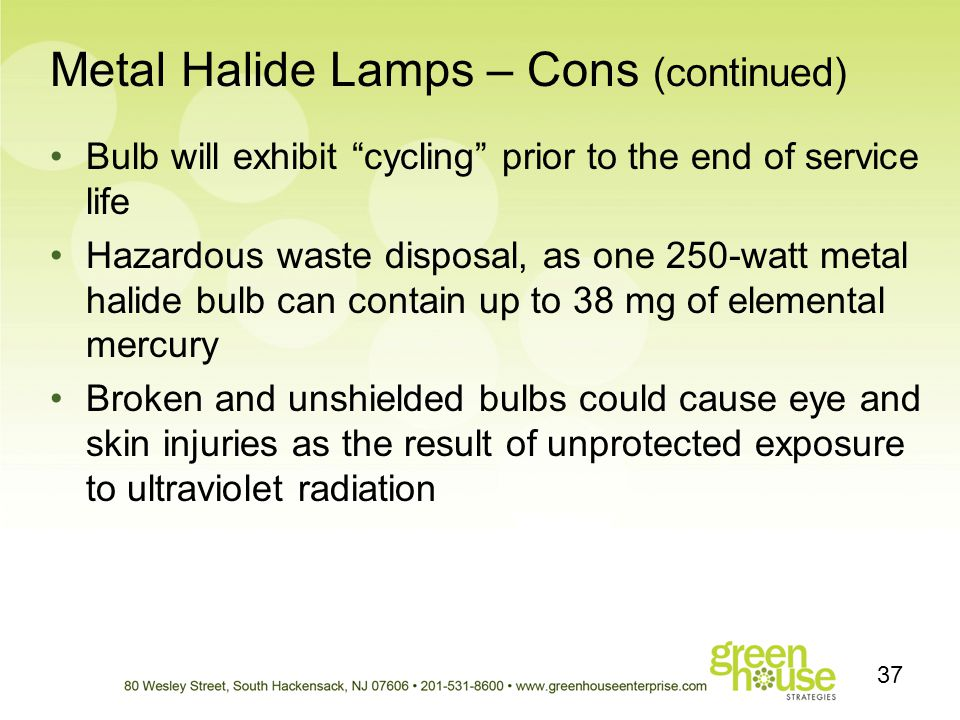 Metal Halide Lamps – Cons (continued) Bulb will exhibit cycling prior to the end of service life Hazardous waste disposal, as one 250-watt metal halid