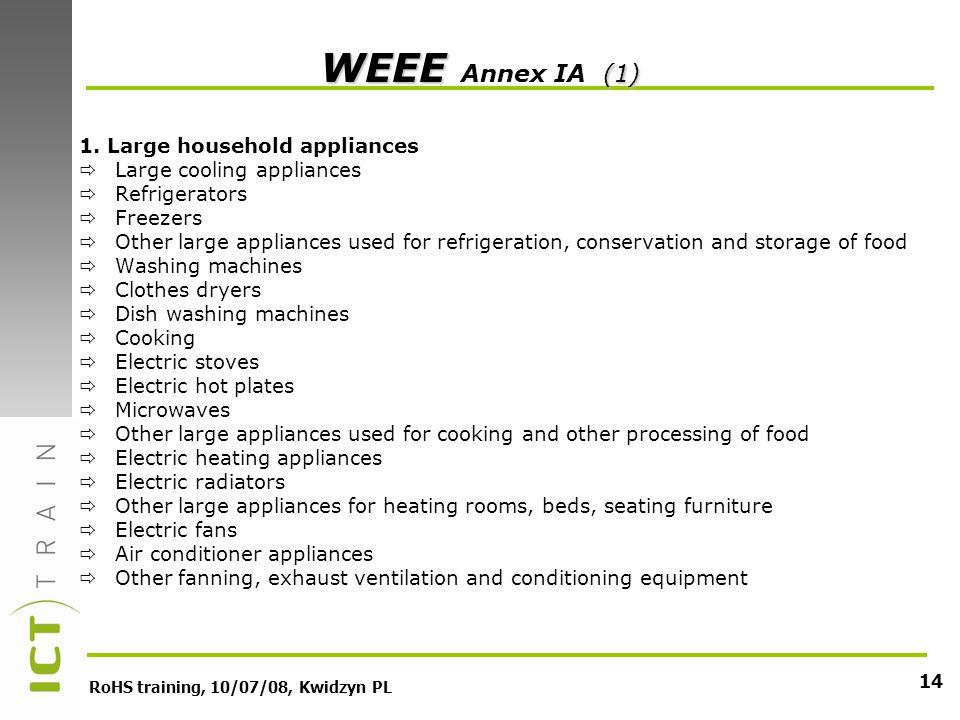 RoHS training, 10/07/08, Kwidzyn PL 14 WEEE (1) WEEE Annex IA (1) 1.