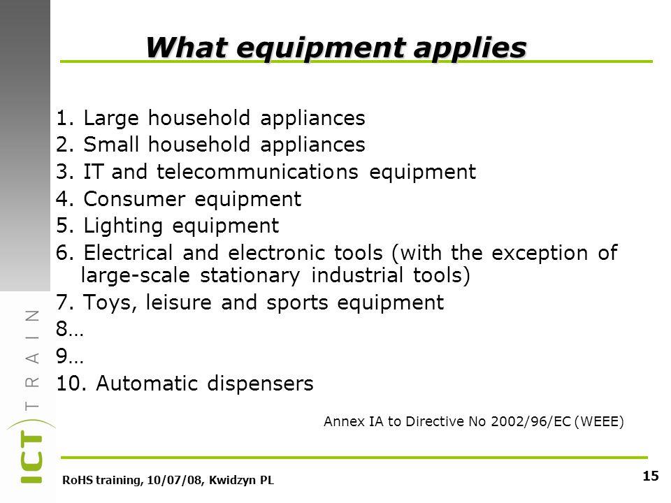 RoHS training, 10/07/08, Kwidzyn PL 15 1. Large household appliances 2.
