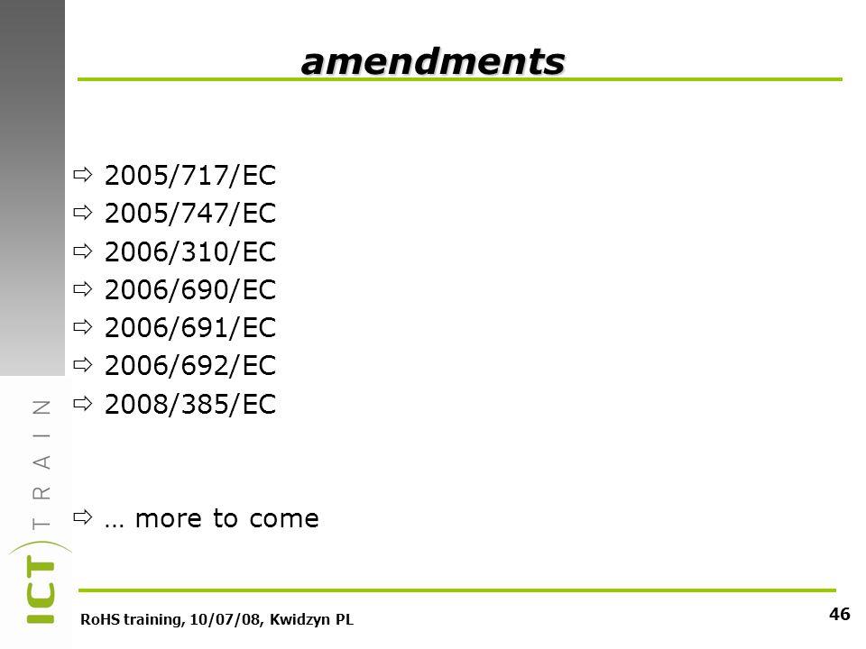 RoHS training, 10/07/08, Kwidzyn PL 46 amendments 2005/717/EC 2005/747/EC 2006/310/EC 2006/690/EC 2006/691/EC 2006/692/EC 2008/385/EC … more to come