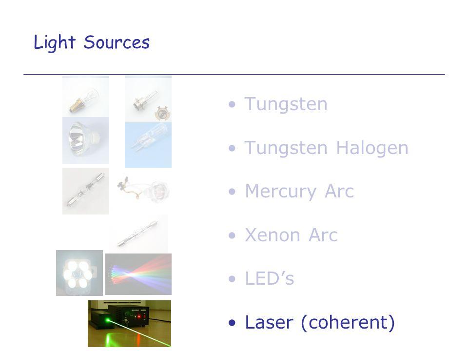 Tungsten Tungsten Halogen Mercury Arc Xenon Arc LEDs Laser (coherent) Light Sources