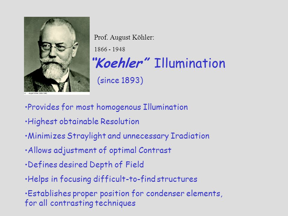 Koehler Illumination (since 1893) Prof. August Köhler: 1866 - 1948 Provides for most homogenous Illumination Highest obtainable Resolution Minimizes S