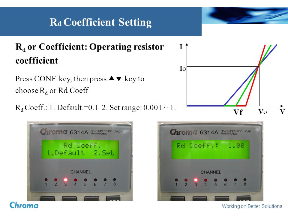 Working on Better Solutions R d or Coefficient: Operating resistor coefficient Press CONF. key, then press key to choose R d or Rd Coeff R d Coeff.: 1