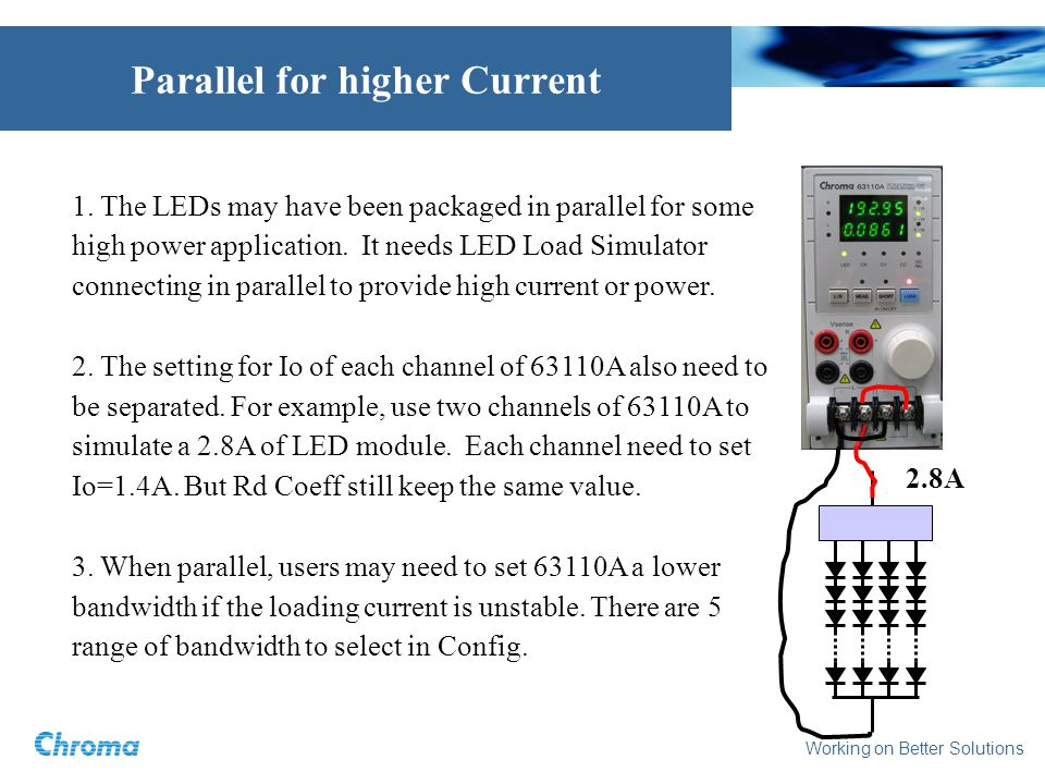Working on Better Solutions 1. The LEDs may have been packaged in parallel for some high power application. It needs LED Load Simulator connecting in