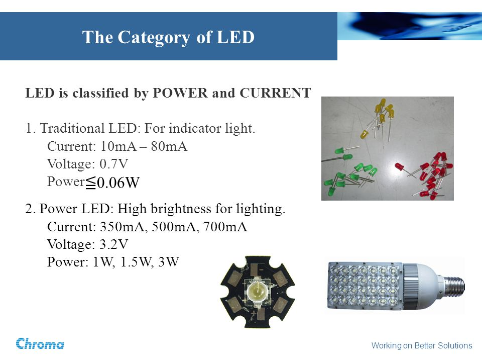 Working on Better Solutions The Category of LED LED is classified by POWER and CURRENT 1. Traditional LED: For indicator light. Current: 10mA – 80mA V