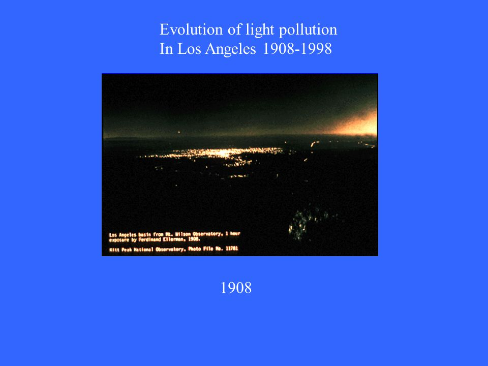 Evolution of light pollution In Los Angeles 1908-1998 1908