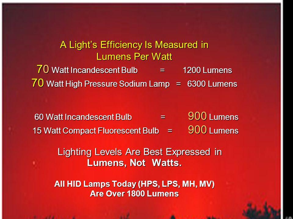 . A Lights Efficiency Is Measured in Lumens Per Watt 70 Watt Incandescent Bulb = 1200 Lumens 70 Watt High Pressure Sodium Lamp = 6300 Lumens 60 Watt I