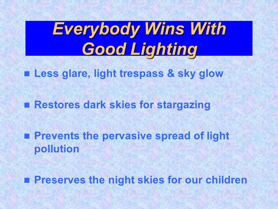 Everybody Wins With Good Lighting Less glare, light trespass & sky glow Restores dark skies for stargazing Prevents the pervasive spread of light poll