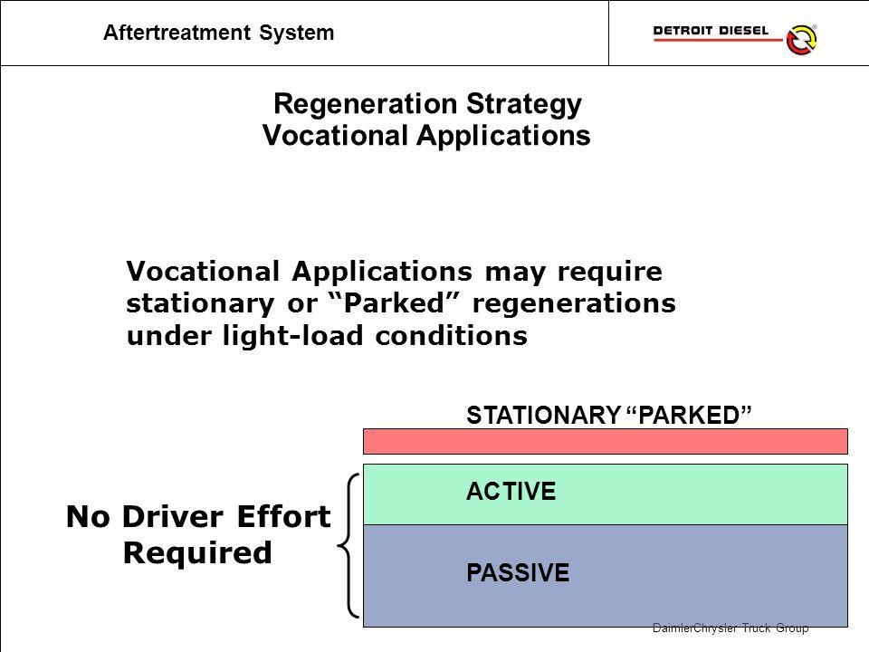 DaimlerChrysler Truck Group Regeneration Strategy Vocational Applications PASSIVE ACTIVE STATIONARY PARKED Vocational Applications may require station