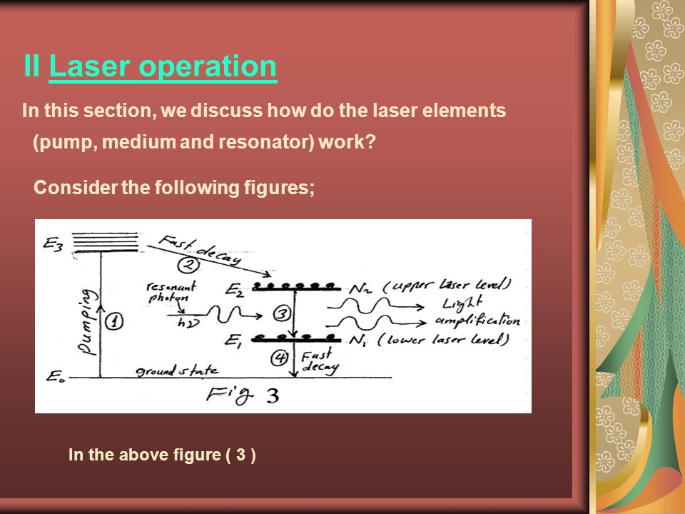 II Laser operation In this section, we discuss how do the laser elements (pump, medium and resonator) work? Consider the following figures; In the abo