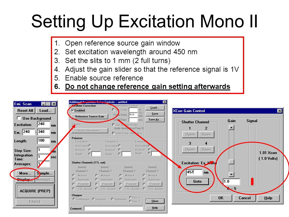 Setting Up Excitation Mono II 1.Open reference source gain window 2.Set excitation wavelength around 450 nm 3.Set the slits to 1 mm (2 full turns) 4.A