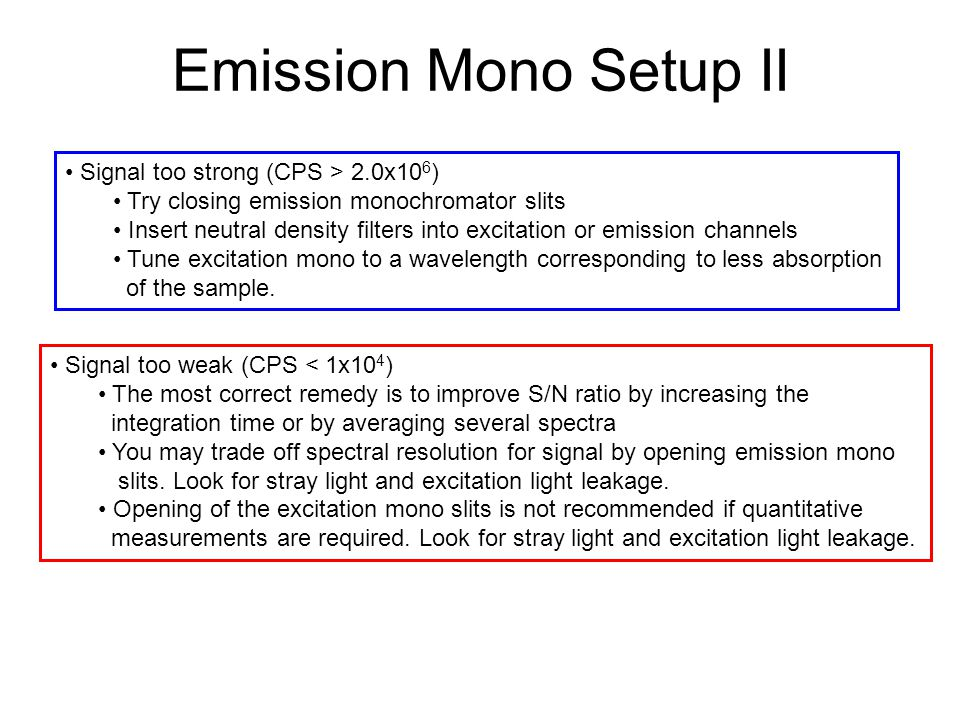 Emission Mono Setup II Signal too strong (CPS > 2.0x10 6 ) Try closing emission monochromator slits Insert neutral density filters into excitation or