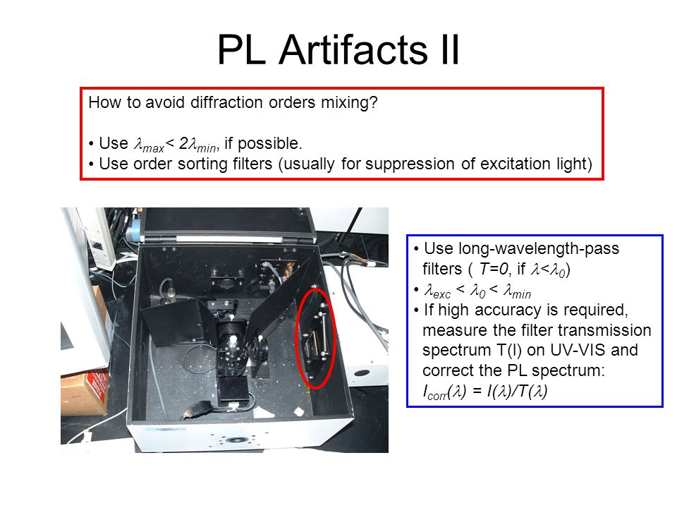 PL Artifacts II How to avoid diffraction orders mixing? Use max < 2 min, if possible. Use order sorting filters (usually for suppression of excitation