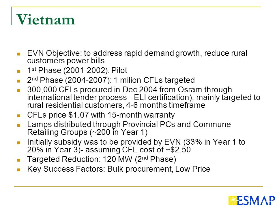 Vietnam EVN Objective: to address rapid demand growth, reduce rural customers power bills 1 st Phase ( ): Pilot 2 nd Phase ( ): 1 milion CFLs targeted 300,000 CFLs procured in Dec 2004 from Osram through international tender process - ELI certification), mainly targeted to rural residential customers, 4-6 months timeframe CFLs price $1.07 with 15-month warranty Lamps distributed through Provincial PCs and Commune Retailing Groups (~200 in Year 1) Initially subsidy was to be provided by EVN (33% in Year 1 to 20% in Year 3)- assuming CFL cost of ~$2.50 Targeted Reduction: 120 MW (2 nd Phase) Key Success Factors: Bulk procurement, Low Price