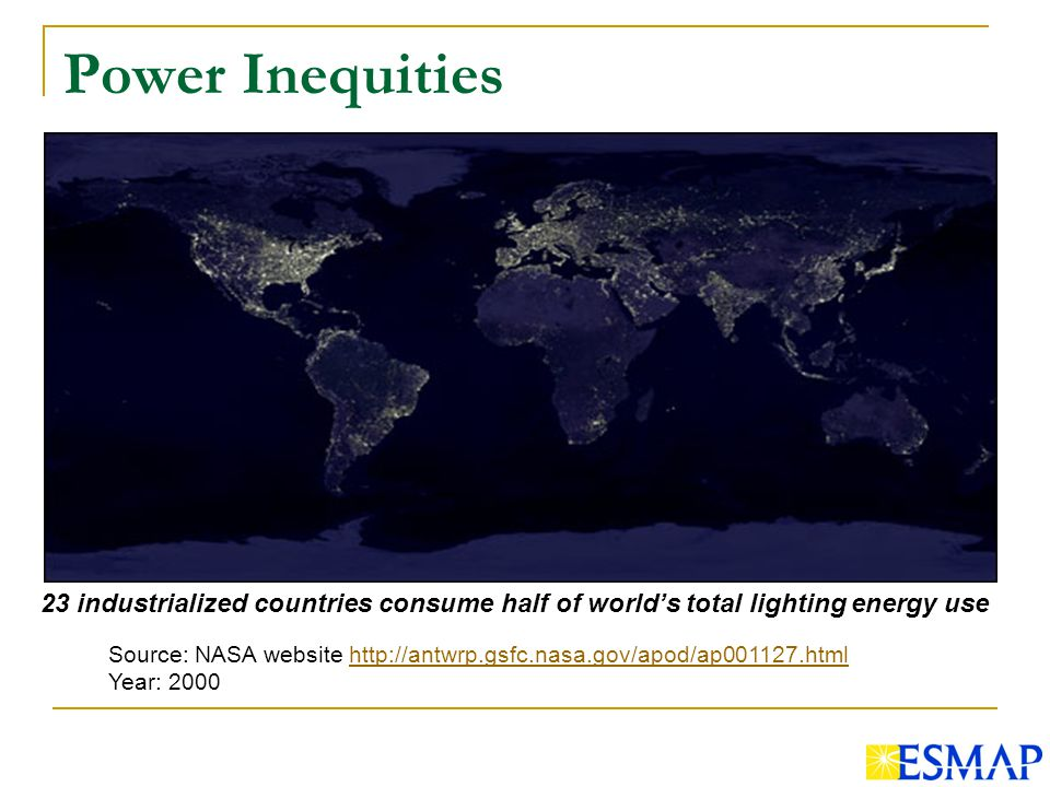 Power Inequities Source: NASA website   Year: industrialized countries consume half of worlds total lighting energy use