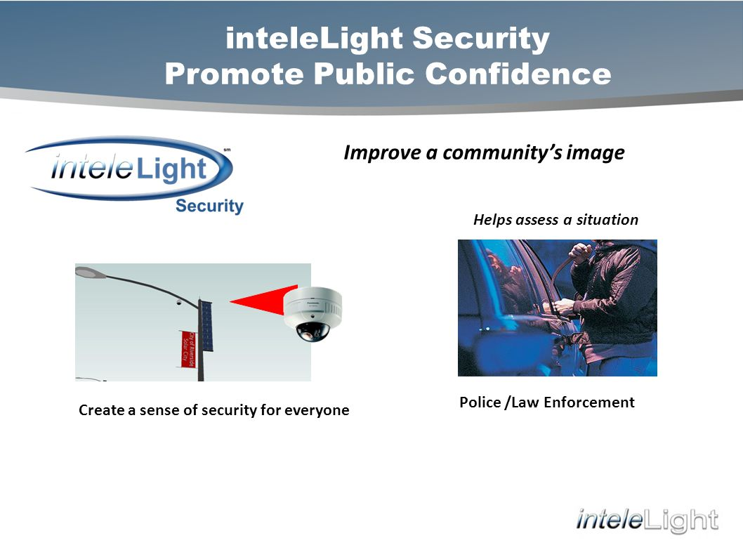 inteleLight Security Promote Public Confidence Improve a communitys image Create a sense of security for everyone Helps assess a situation Police /Law Enforcement