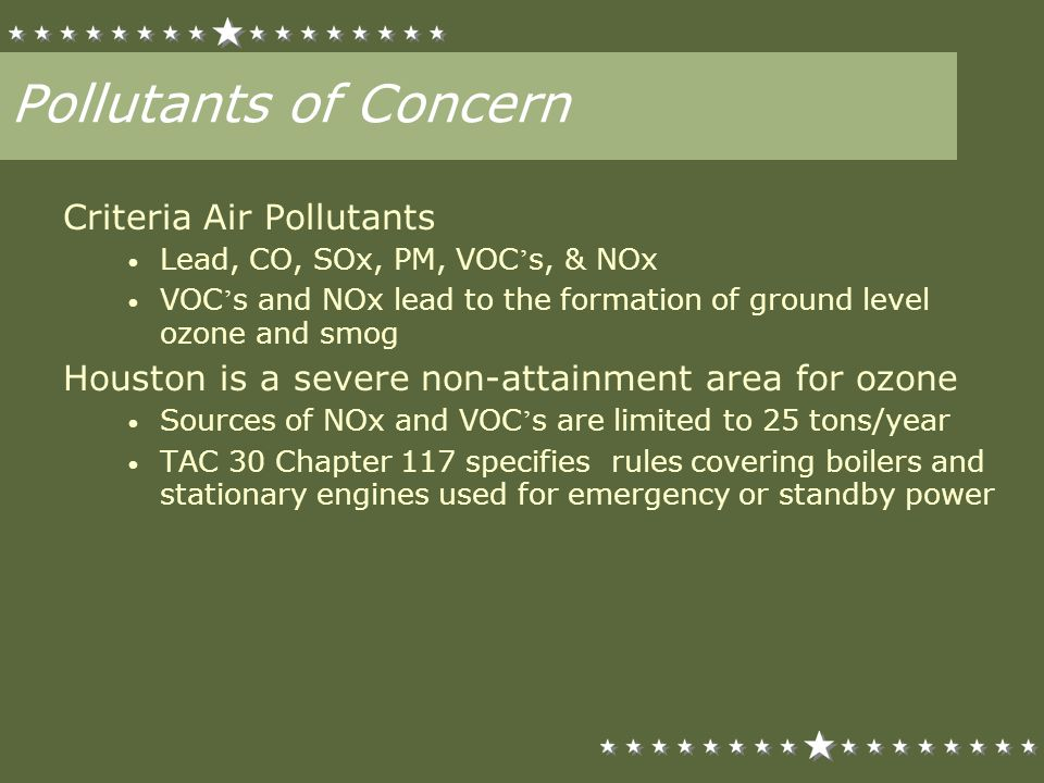 Pollutants of Concern Criteria Air Pollutants Lead, CO, SOx, PM, VOC s, & NOx VOC s and NOx lead to the formation of ground level ozone and smog Houst
