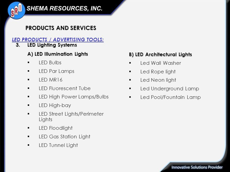 3.LED Lighting Systems A) LED Illumination Lights LED Bulbs LED Par Lamps LED MR16 LED Fluorescent Tube LED High Power Lamps/Bulbs LED High-bay LED St