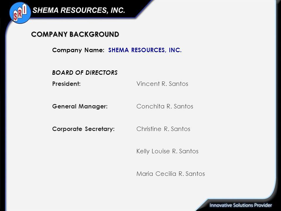 Company Name:SHEMA RESOURCES, INC. BOARD OF DIRECTORS President: Vincent R. Santos General Manager: Conchita R. Santos Corporate Secretary: Christine