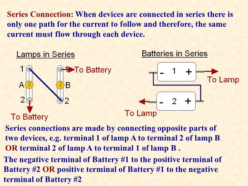 Series Connection: When devices are connected in series there is only one path for the current to follow and therefore, the same current must flow through each device.