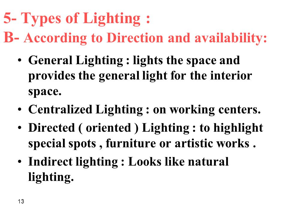 13 5- Types of Lighting : B- According to Direction and availability: General Lighting : lights the space and provides the general light for the interior space.