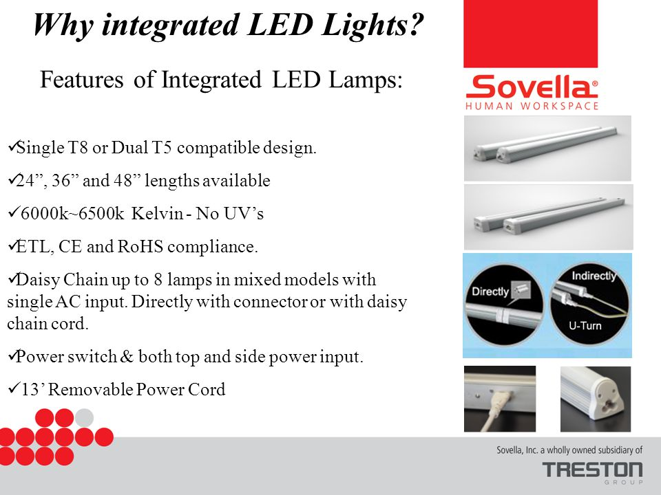 Features of Integrated LED Lamps: Single T8 or Dual T5 compatible design.