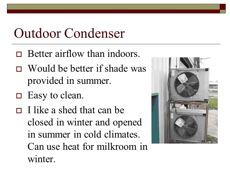 Outdoor Condenser Better airflow than indoors. Would be better if shade was provided in summer.