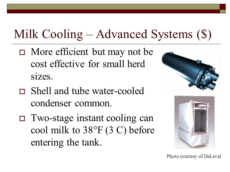 Milk Cooling – Advanced Systems ($) More efficient but may not be cost effective for small herd sizes.