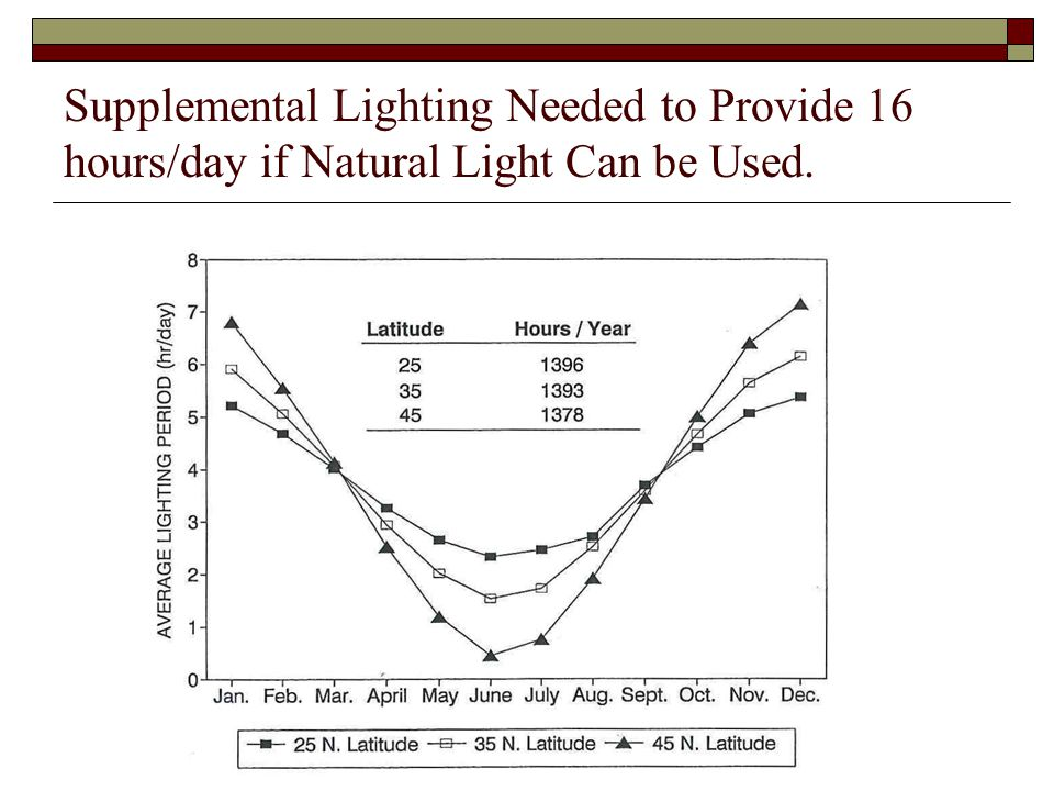 Supplemental Lighting Needed to Provide 16 hours/day if Natural Light Can be Used.