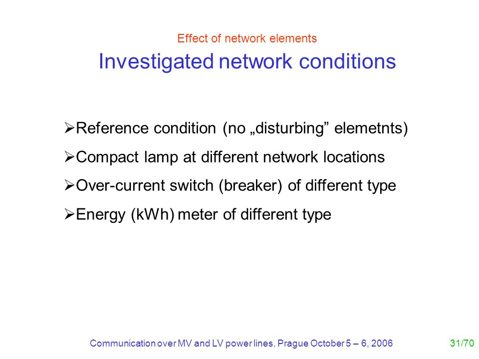 Communication over MV and LV power lines, Prague October 5 – 6, 200631/70 Effect of network elements Investigated network conditions Reference condition (no disturbing elemetnts) Compact lamp at different network locations Over-current switch (breaker) of different type Energy (kWh) meter of different type