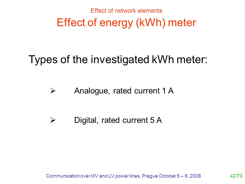 Communication over MV and LV power lines, Prague October 5 – 6, 200642/70 Effect of network elements Effect of energy (kWh) meter Analogue, rated curr