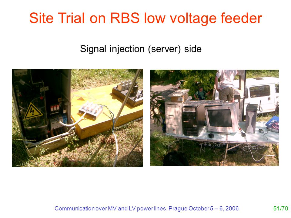 Communication over MV and LV power lines, Prague October 5 – 6, 200651/70 Site Trial on RBS low voltage feeder Signal injection (server) side