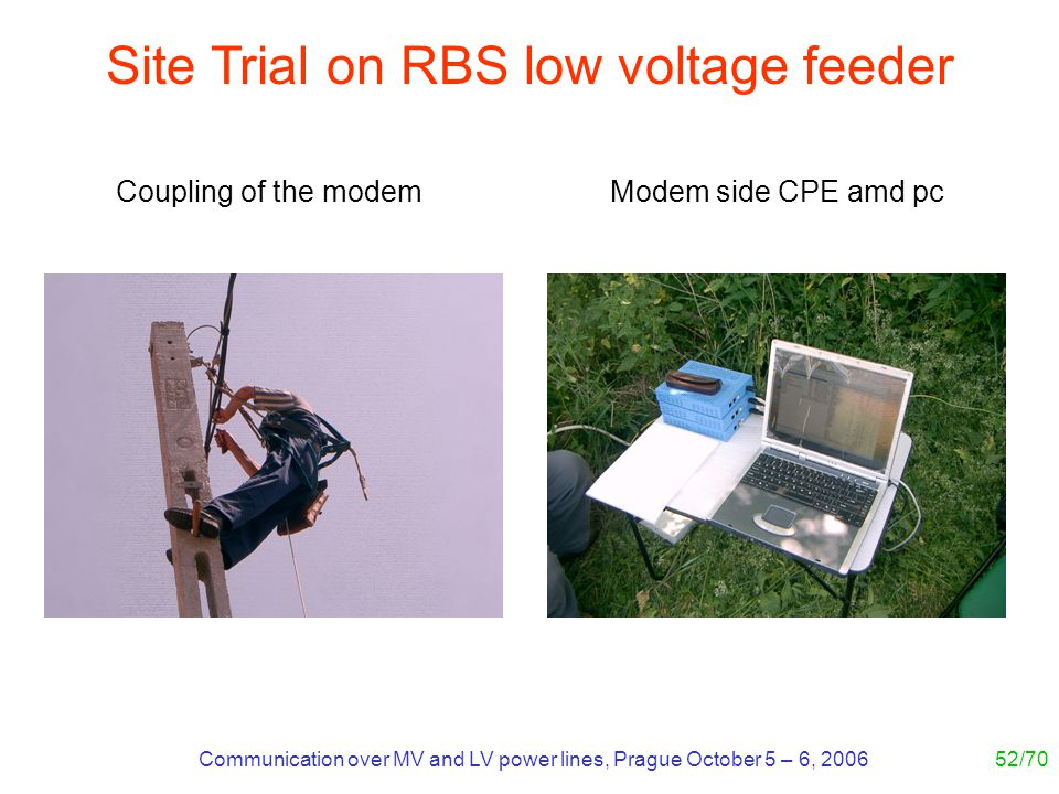 Communication over MV and LV power lines, Prague October 5 – 6, 200652/70 Site Trial on RBS low voltage feeder Modem side CPE amd pcCoupling of the mo