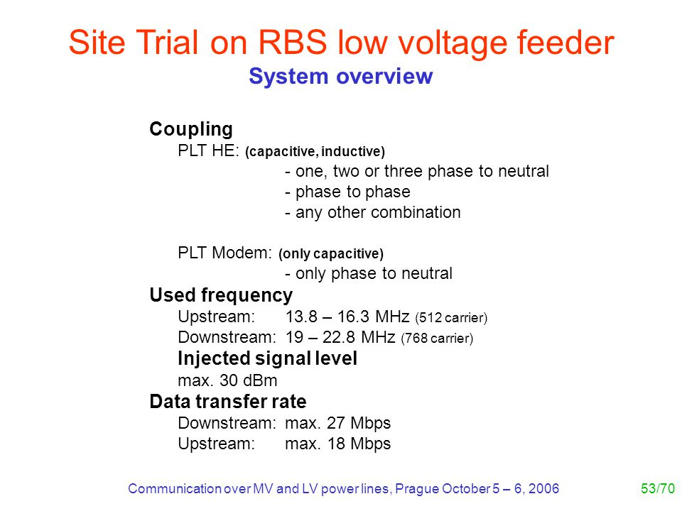 Communication over MV and LV power lines, Prague October 5 – 6, 200653/70 Site Trial on RBS low voltage feeder System overview Coupling PLT HE: (capacitive, inductive) - one, two or three phase to neutral - phase to phase - any other combination PLT Modem: (only capacitive) - only phase to neutral Used frequency Upstream:13.8 – 16.3 MHz (512 carrier) Downstream:19 – 22.8 MHz (768 carrier) Injected signal level max.