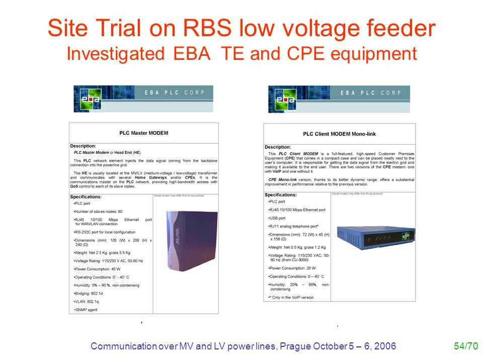 Communication over MV and LV power lines, Prague October 5 – 6, 200654/70 Site Trial on RBS low voltage feeder Investigated EBA TE and CPE equipment