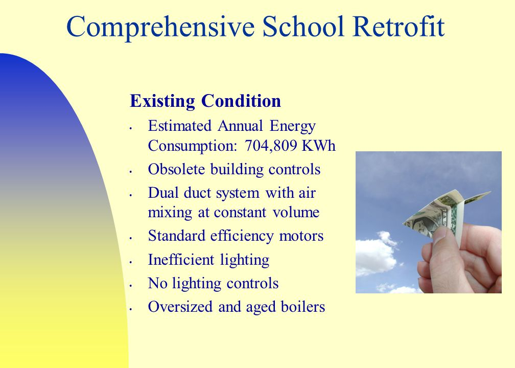 Comprehensive School Retrofit Existing Condition Estimated Annual Energy Consumption: 704,809 KWh Obsolete building controls Dual duct system with air mixing at constant volume Standard efficiency motors Inefficient lighting No lighting controls Oversized and aged boilers