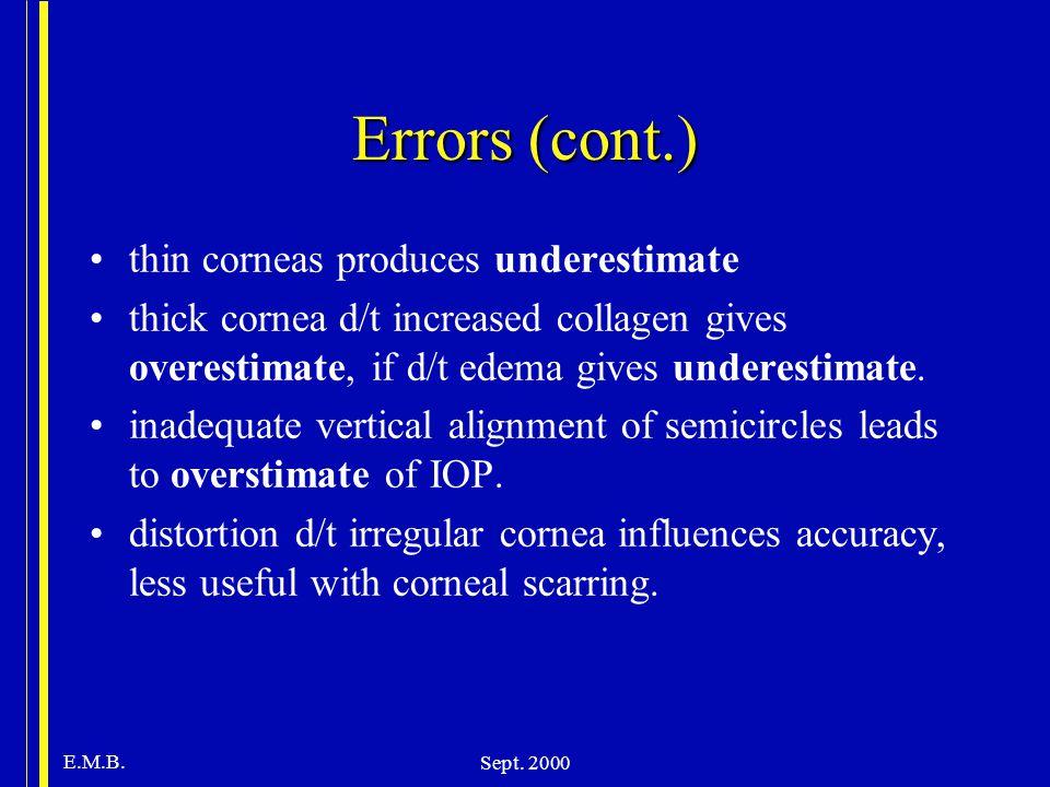 E.M.B. Sept. 2000 Errors (cont.) thin corneas produces underestimate thick cornea d/t increased collagen gives overestimate, if d/t edema gives undere