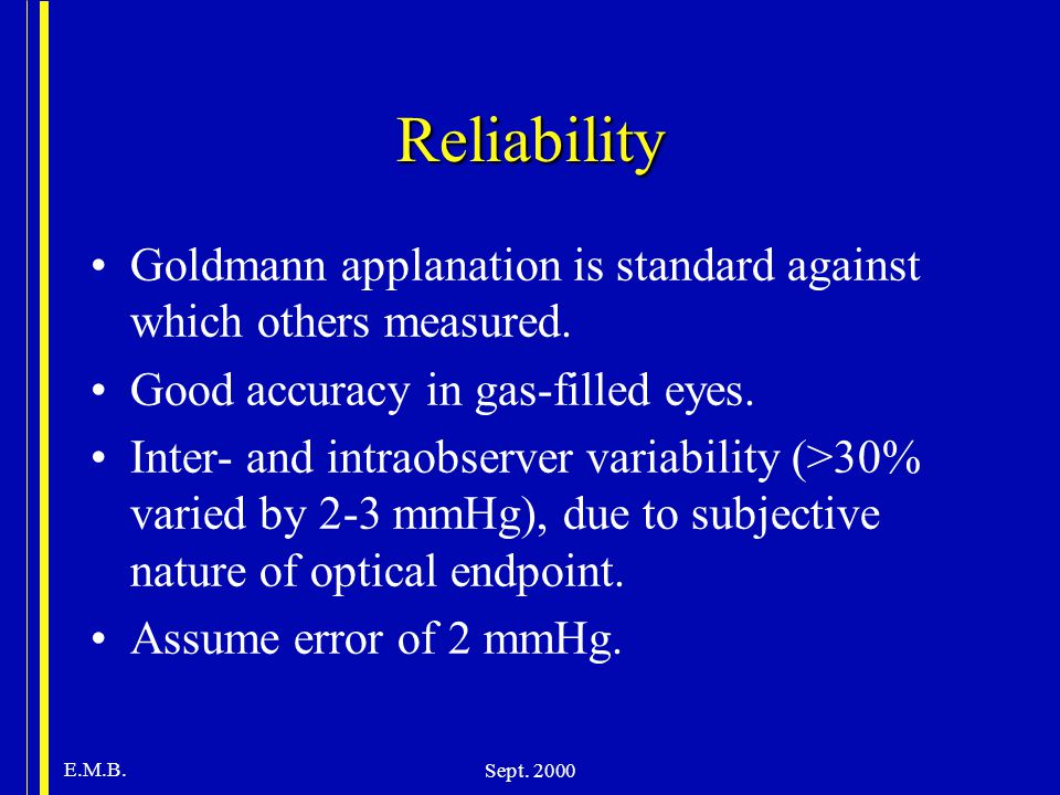 E.M.B. Sept. 2000 Reliability Goldmann applanation is standard against which others measured. Good accuracy in gas-filled eyes. Inter- and intraobserv