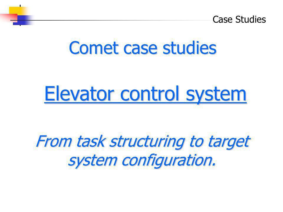 Case Studies Elevator control system Elevator control system Comet case studies From task structuring to target system configuration.