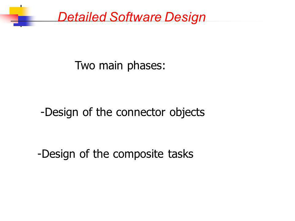 Detailed Software Design Two main phases: - -Design of the connector objects - -Design of the composite tasks